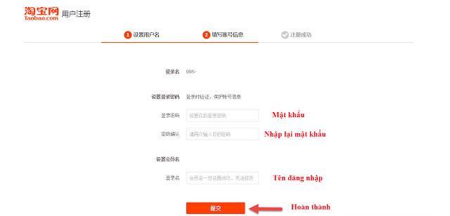 Hướng dẫn điền tên đăng nhập và mật khẩu