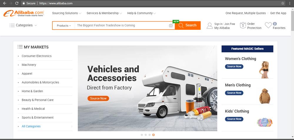 Giao diện web Alibaba